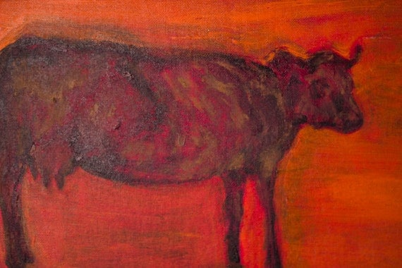 Rustic Cow Oil Painting