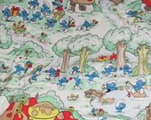 Reserved - Vintage Smurfs Bed Sheet  and snoopy Hocket sheet for Nosa Nosa