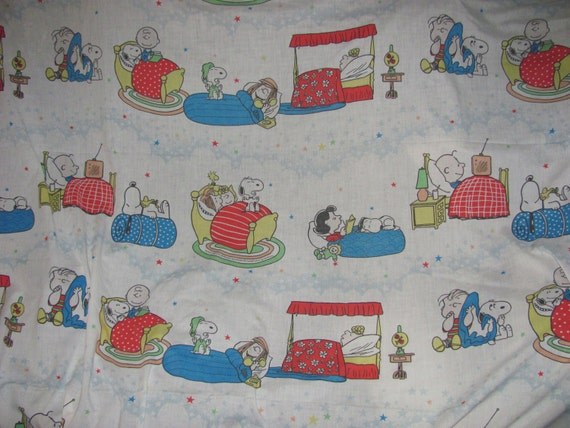 1980's Vintage Peanuts Bed Sheet - Twin Flat Sheet - Sleepy Time
