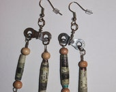 Funky Recycled Paper and Bike Chain Dangle Earrings Lightweight Browns