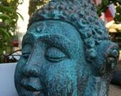Buddha Head Figure - Patinaed Copper & Gold