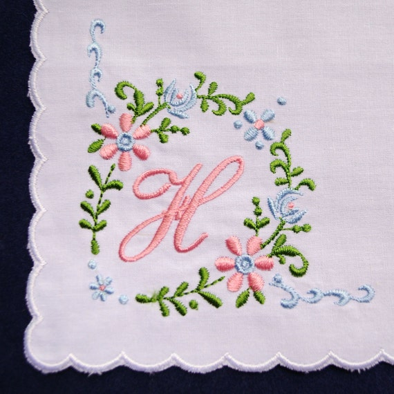 Monogram initial letter embroidered white cotton by mamahanky