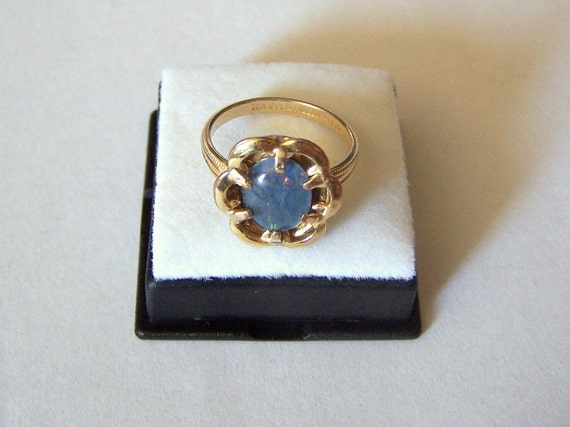 Ring Gold Filled Clark and Coombs Opal Triplet Gemstone Artisan Altered Vintage
