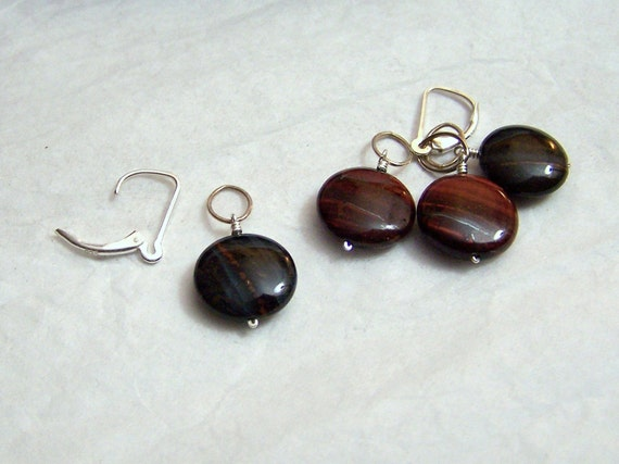 Interchangeable Gemstone Earrings Tiger Eye Coin Sterling Red Blue 2pr Set