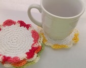 Bright as spring crocheted coasters set of four handmade