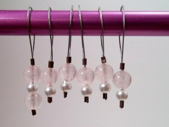 Stitch Markers rose quartz and pearl set of six snag free knitting stitch markers