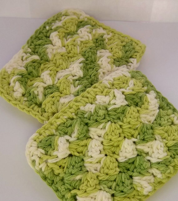Lime green Eco Kitchen Sponges set of two cotton crocheted scrubbies dishcloth