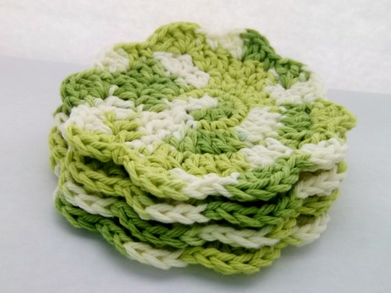 Spring green crocheted coasters set of four handmade