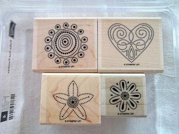 Stampin Up stamp set -  Polka Dot Punches- set of 4 rubber stamp set