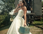 Ivory Silk Taffeta Designer Wedding Ballgown with Lace Bodice - A020