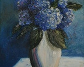 Blue Hygrangeas original Oil painting, 9 X 12, impressionistic painted with palette knife