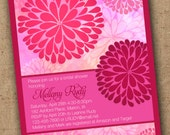Colorful Zinnia invitations - Printable Wedding, Shower, Birthday, any occasion - Color customizable