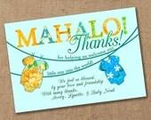 Mahalo Luau Tropical Baby Shower Thank You - Printable