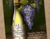 Wine or Champagne and Grapes Invitation - Printable JPEG