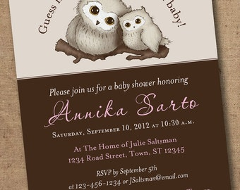 Hoo Hoo Who's Having a Baby Mommy and Baby Owl shower invitation - Printable