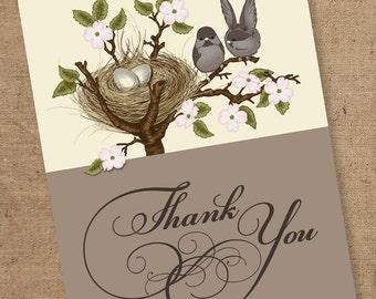 Cute lil birds thank you - Printable