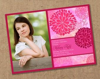Bright Zinnia Flower Graduation Announcement - Printable