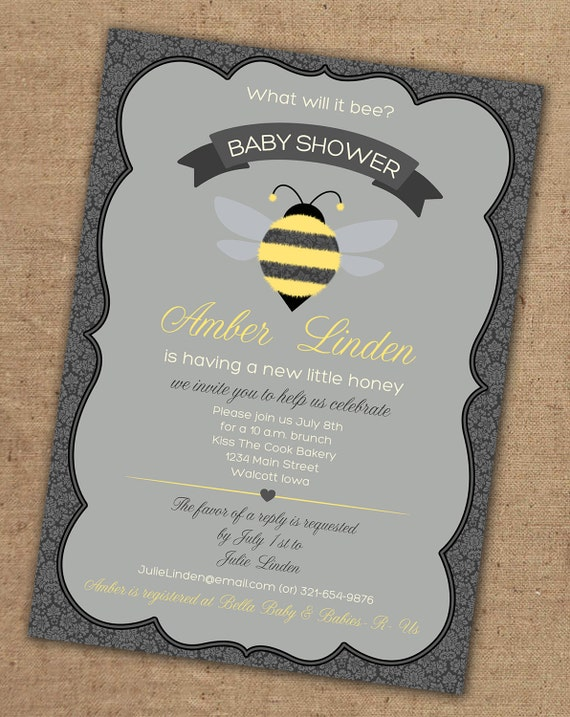 what will it bee baby shower invitation by lovesweetpeacards