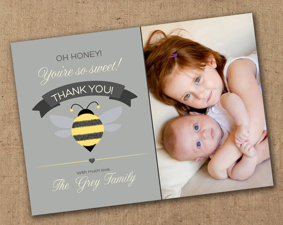 Honey You're So Sweet Bee Thank You Card - with or without photo - Printable