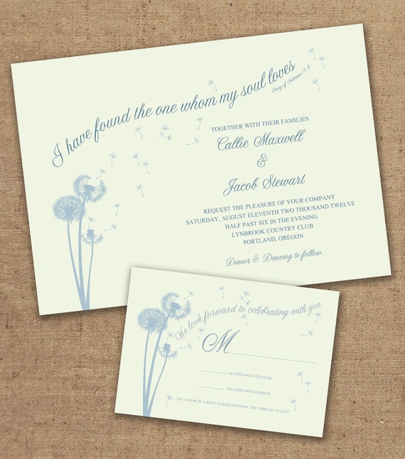 dandelion wedding invitation with matching rsvp color customizable