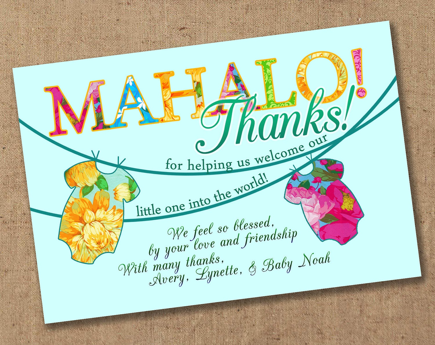 mahalo luau tropical baby shower thank you by lovesweetpeacards