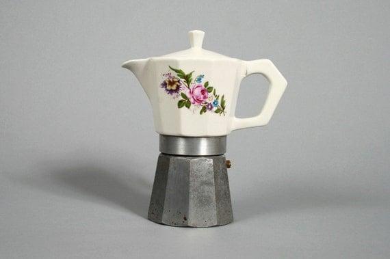 Vintage Ceramic Granny Print Stove Top Espresso Coffee Maker. Made in Italy.