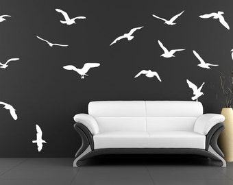 Flock of Seagulls Scale Wall Vinyl Art/Decal - 15 Birds Beach Sand