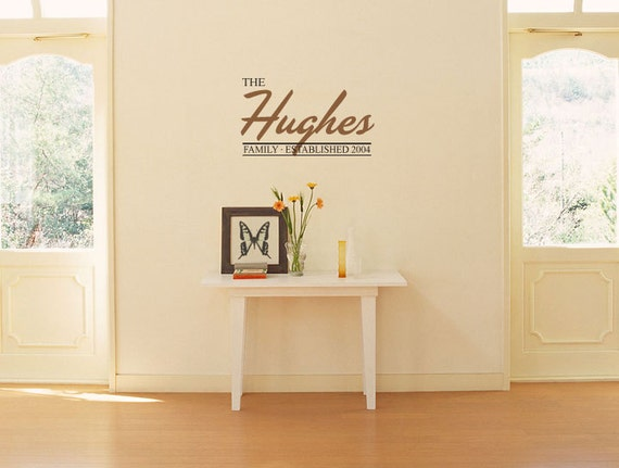 Custom FAMILY NAME with Established Year Sign Vinyl Wall Art/Decal Personalized Wedding