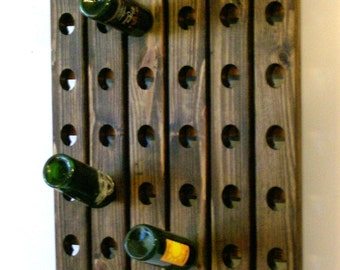 French Riddling Rack Antique Style Wine Rack Walnut Finish Holds 30 Bottles