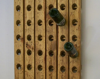 Rustic Wine Rack Antique Riddling Style Distressed Wood Winerack