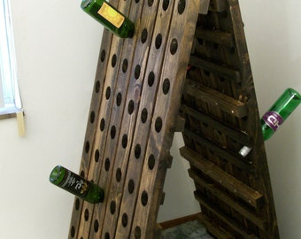 Standing Wine Rack A-Frame Wine Riddling Rack 120 Bottle Winerack Handmade