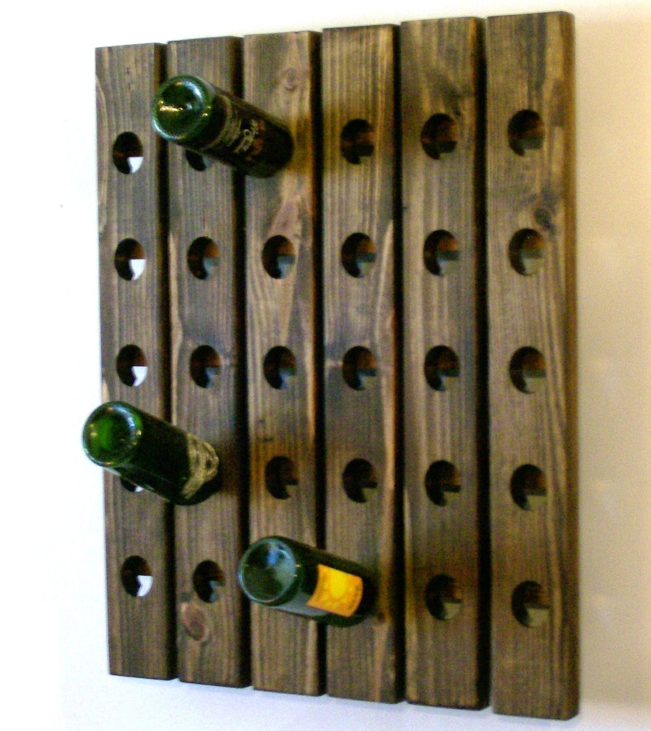 Large wine rack walnut finish wall mounted riddling by for Old wine rack