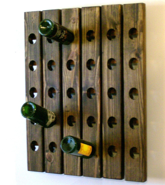 Large Wine Rack Walnut Finish Wall Mounted Riddling Rack