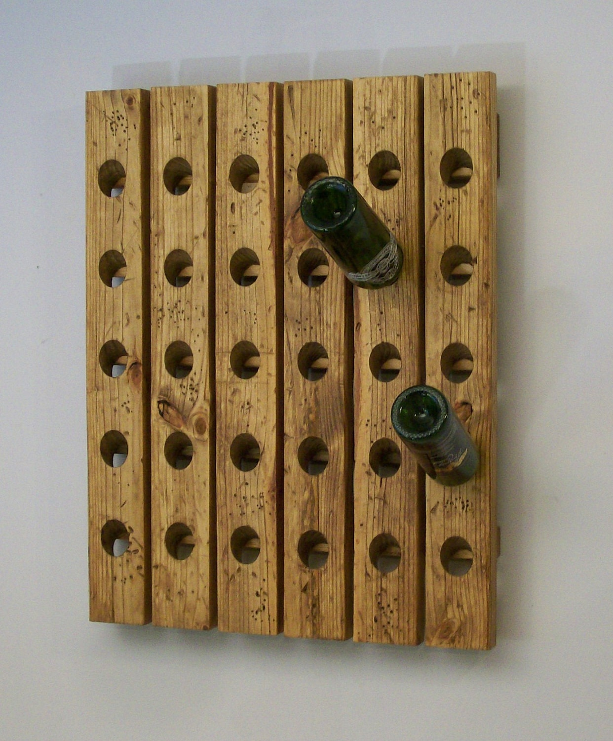 Distressed Riddling Wine Rack Antique Style Wood Winerack