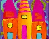 Bright Colorful Whimsical Nursery Child's Room Glowing Houses Enhanced Matte Giclee Art Print 8 x 10