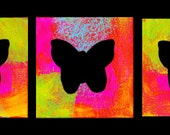 Bright Colorful Whimsical Teen's Room Child's Room Black Butterfly Bright Colors Triptych Matte Giclee Art Prints 12 x 12