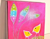 Bright Colorful Whimsical Nursery Child's Room Pink Birds Mother Child Acrylic Painting 12 x 12