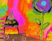 Bright Colorful Whimsical Nursery Child's Room Whimsical Mixed Media Fine Art Velvet Giclee Art Print 24 x 24