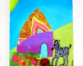 Bright Colorful Whimsical Baby Zebra Mixed Media Painting Collage 5 x 7