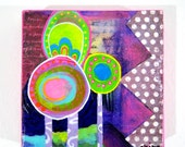 Bright Colorful Whimsical Pink Purple Floral Abstract 1960s Flower Power Mixed Media Painting Collage 6 x 6