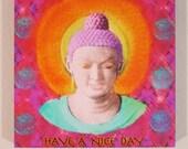 Bright Colorful Gautama Buddha Digital Painting on Metallic Paper on a 6 x 6 Gallery Block
