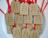 Holiday Gift Tags Christmas Tree with Sparkle Ornaments Set of 8