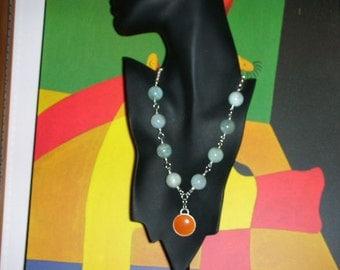 Beautiful Aquamarine And Garnet Pendant