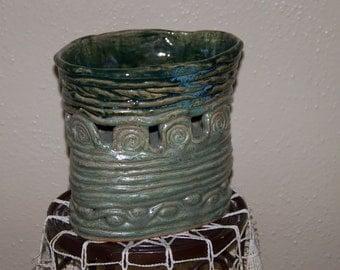 Coil pot handbuilt Pottery Vase. Green blend. 7 inches high