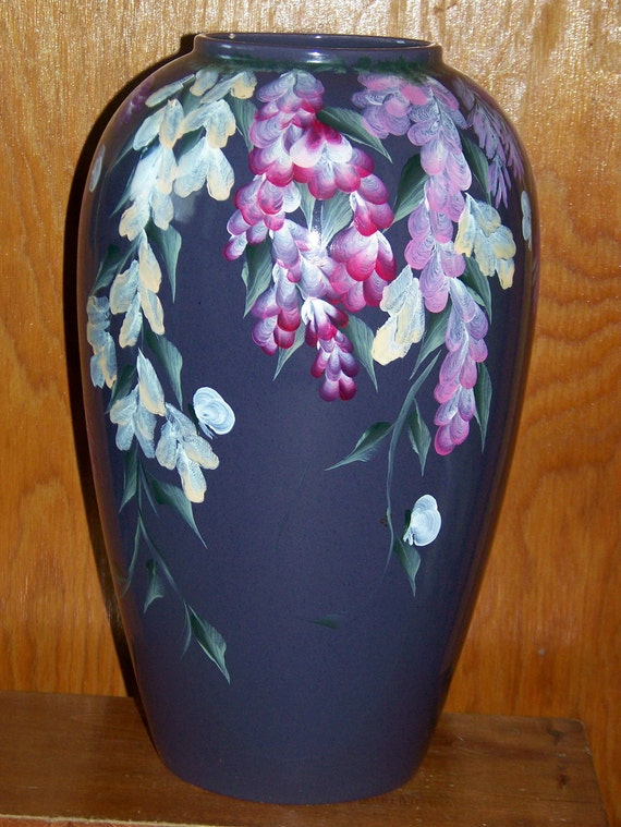 Hand painted Ceramic Vase with hanging flowers & leaves