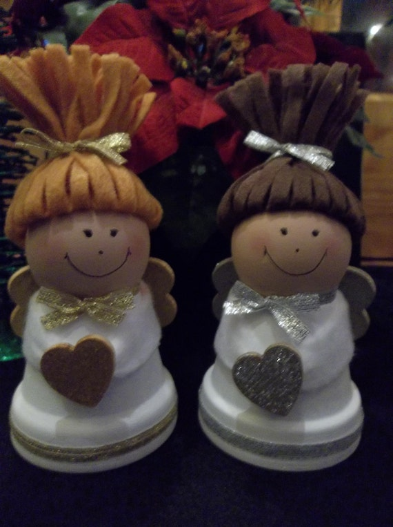 Items similar to clay pot christmas angels on etsy