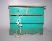 Upcycled Beach Teal Wooden Jewelry Box