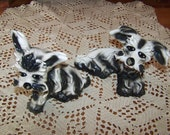 Black White Dog Spaghetti Figurines