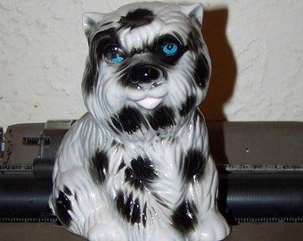 Puppy Dog Figurine Black & White Puppy Figurine