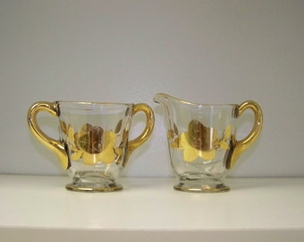 Cream Sugar Set Gold Trimmed Glass Sugar Creamer Set